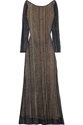 MISSONI Open-back bead-embellished cotton-blend crochet-knit gown