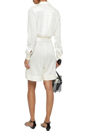 MISSONI Belted crochet-knit playsuit