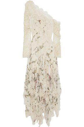ZIMMERMANN Maples Temperance one-shoulder lace-paneled printed silk-georgette maxi dress