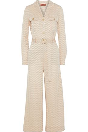 MISSONI Belted crochet-knit jumpsuit