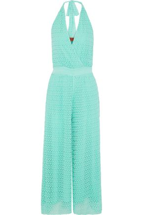 MISSONI Wrap-effect crochet-knit halterneck jumpsuit