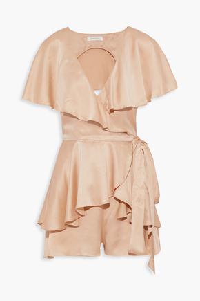 ZIMMERMANN Open-back ruffled washed-silk wrap playsuit