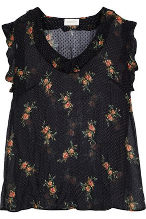 ZIMMERMANN Ruffle-trimmed floral-print fil coupé silk-blend chiffon top