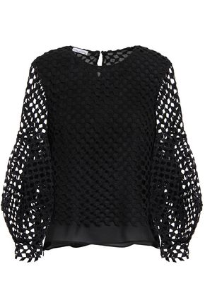 OSCAR DE LA RENTA Guipure cotton-lace blouse