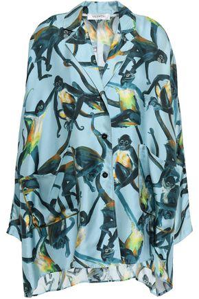VALENTINO Oversized printed silk-twill shirt
