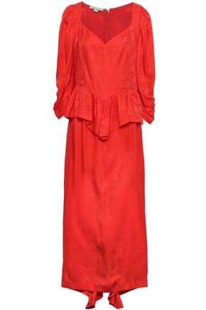4a6c7783fce STELLA McCARTNEY Ruffled silk-jacquard peplum midi dress