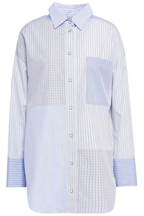 PIAZZA SEMPIONE Patchwork-effect printed cotton-poplin shirt