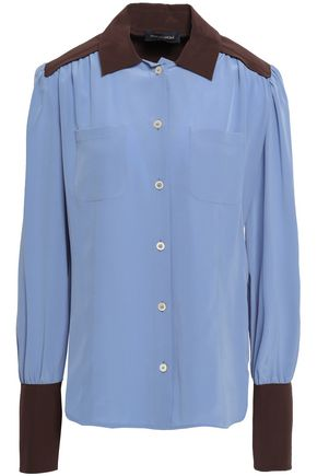 PIAZZA SEMPIONE Two-tone silk-crepe shirt
