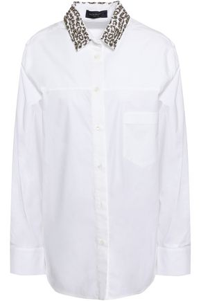 PIAZZA SEMPIONE Beaded cotton-blend poplin shirt