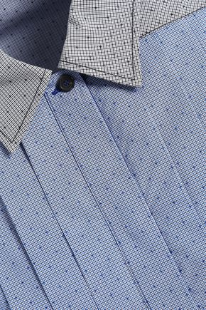 PIAZZA SEMPIONE Pleated paneled printed cotton shirt