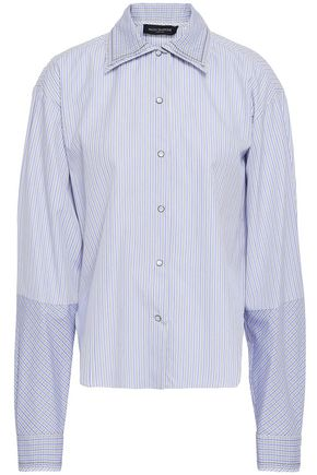 PIAZZA SEMPIONE Striped cotton-poplin shirt