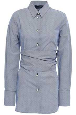 PIAZZA SEMPIONE Belted printed cotton-poplin shirt