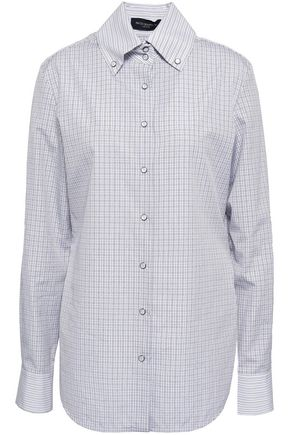 PIAZZA SEMPIONE Checked cotton-poplin shirt