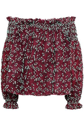 GIAMBATTISTA VALLI Off-the-shoulder embroidered cotton-blend tulle top