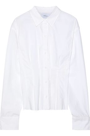CURRENT/ELLIOTT The Tella pleated cotton-poplin shirt