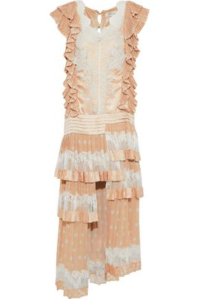 ZIMMERMANN Folly Dizzy tiered lace-paneled polka-dot satin midi dress