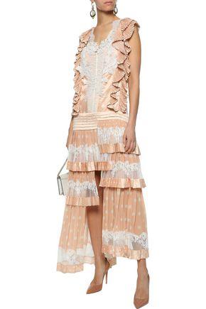 ZIMMERMANN Folly Dizzy tiered lace-paneled polka-dot satin midi dress