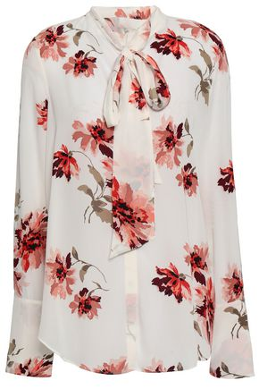 JOIE Pussy-bow floral-print crepe de chine blouse