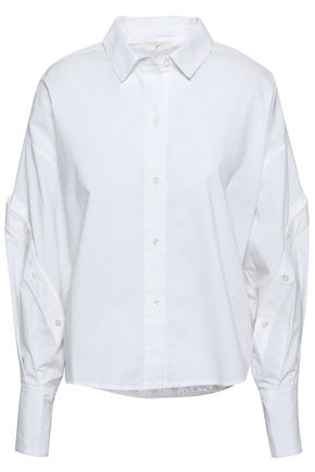 JOIE Button-detailed cotton-poplin shirt