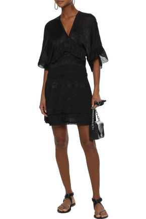 IRO Stacy shirred embroidered georgette mini dress