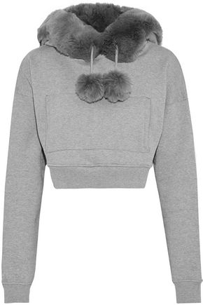 OPENING CEREMONY Cropped faux fur-trimmed mélange cotton-fleece hoodie