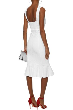 OPENING CEREMONY Fluted ring-embellished cloqué-jacquard midi dress