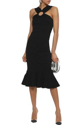 Opening Ceremony OPENING CEREMONY WOMAN FLUTED RING-EMBELLISHED CLOQUÉ-JACQUARD MIDI DRESS BLACK