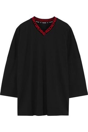 OPENING CEREMONY Intarsia-trimmed cotton-jersey top