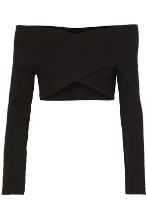 OPENING CEREMONY Off-the-shoulder cropped ribbed cotton-blend top