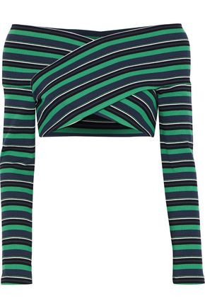 OPENING CEREMONY Off-the-shoulder cropped striped ribbed cotton-blend top