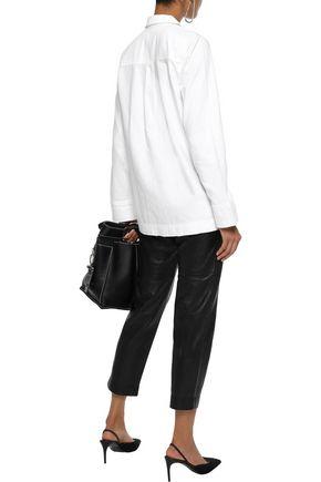 EQUIPMENT Kiley lace-up distressed denim shirt