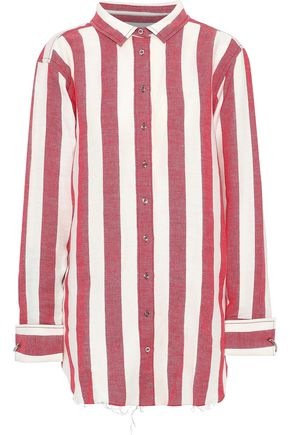 MARQUES' ALMEIDA Striped linen and cotton-blend shirt