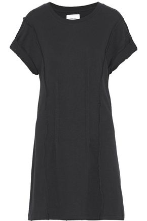 CURRENT/ELLIOTT Pintucked distressed cotton-jersey mini dress