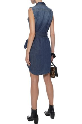 CURRENT/ELLIOTT The Eden belted distressed denim mini shirt dress