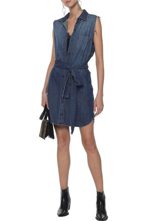 d7161507bf9 CURRENT ELLIOTT The Eden belted distressed denim mini shirt dress
