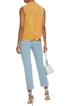 SEE BY CHLOÉ Ruffle-trimmed broderie anglaise crepe de chine blouse