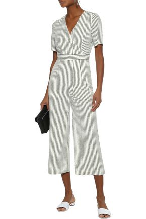 IRIS & INK Madeline cropped striped georgette jumpsuit