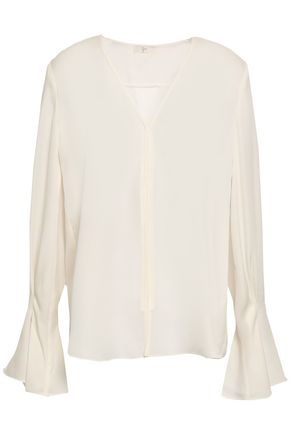 JOIE Fluted silk-crepe blouse