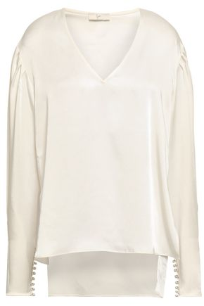 JOIE Gathered satin blouse