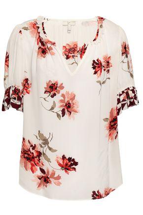 JOIE Floral-print crepe de chine top