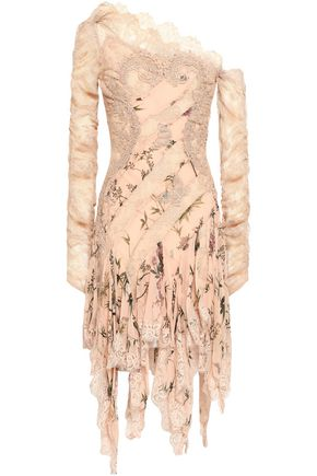 ZIMMERMANN One-shoulder lace and floral-print silk-georgette dress
