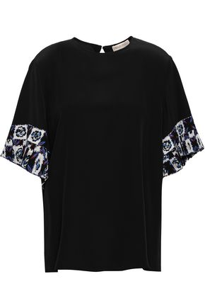 EMILIO PUCCI Pleated printed silk-crepe top