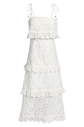ZIMMERMANN Tiered broderie anglaise cotton midi dress