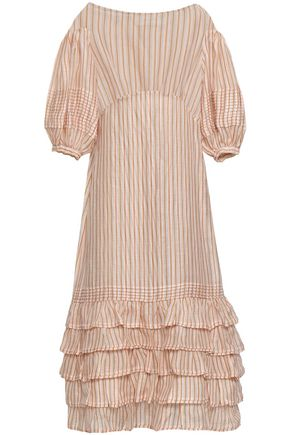 ZIMMERMANN Tiered striped linen and silk-blend gauze midi dress