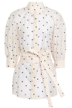 ZIMMERMANN Belted embroidered cotton and silk-blend gauze blouse
