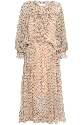 ZIMMERMANN Ruffled polka-dot silk-georgette midi dress