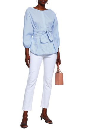 ZIMMERMANN Striped cotton-blend poplin shirt