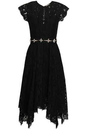 JOIE | Joie Asymmetric Embellished Corded Lace Dress | Goxip