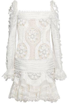 ZIMMERMANN Appliquéd cutout linen and silk-blend mini dress