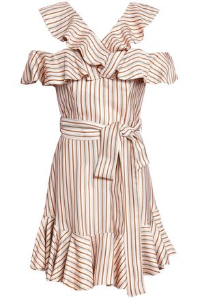 ZIMMERMANN Belted ruffled polka-dot twill mini dress